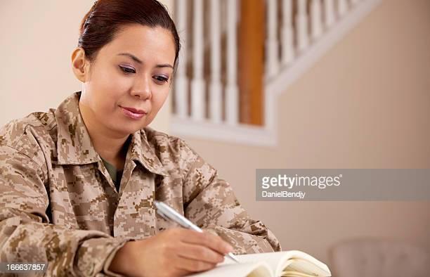 US Marine Female Soldier Working