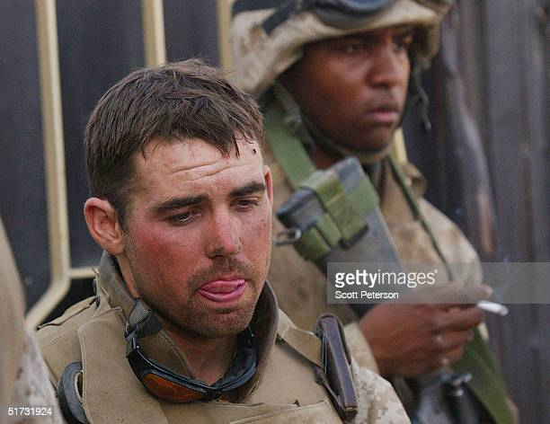 S Marine First Lt Paul Webber thinks after being part of an ambushed convoy that took US casualties on November 11 2004 in Fallujah Iraq The US...