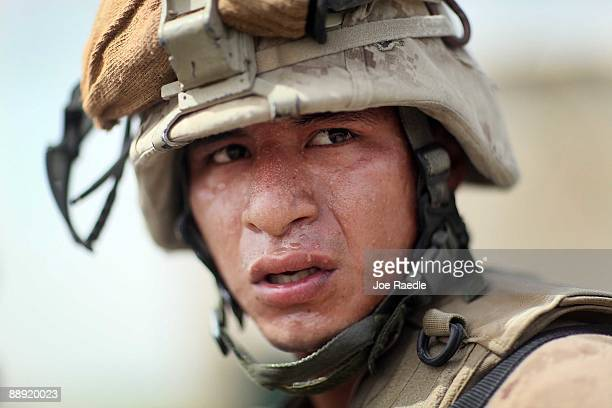 Marine from 2nd Marine Expeditionary Brigade, RCT 2nd Battalion 8th Marines Echo Co. Is seen during a firefight on July 9, 2009 in Mian Poshteh,...