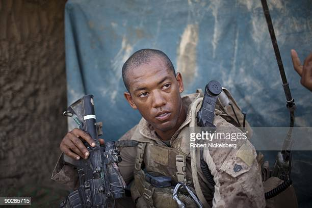 Marine from the 2nd Marine Division 2nd Light Armored Reconnaissance Battalion Delta Company Sergeant Andrew Oquendo 23 years of Paterson New Jersey...