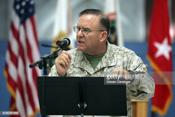Marine General Douglas Stone commander of Iraq's detention facilities including Camp CropperCamp Bucca and Camp Ashraf speaks during a ceremony...