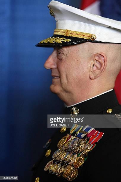 US marine general James Mattis is seen on September 9 2009 aboard the aircraft carrier USS Dwight D Eisenhower off the coast of Norfolk Virginia A...