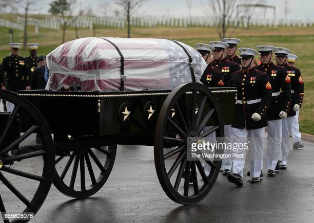 Marine honor guard follow a caisson used to transfer the remains of Marine Pvt Harry K Tye of Orinoco Kentucky to his gave site He was buried with...