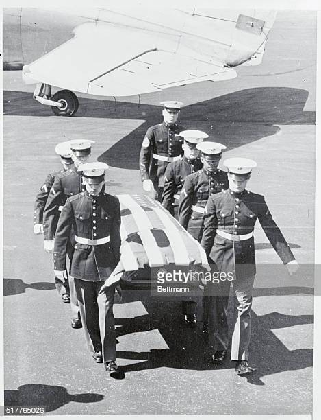 A Marine Honor Guard from the Brooklyn Navy Yard serve as pallbearers here as they carry the flagdraped casket of 18yearold Marine recruit Leroy...