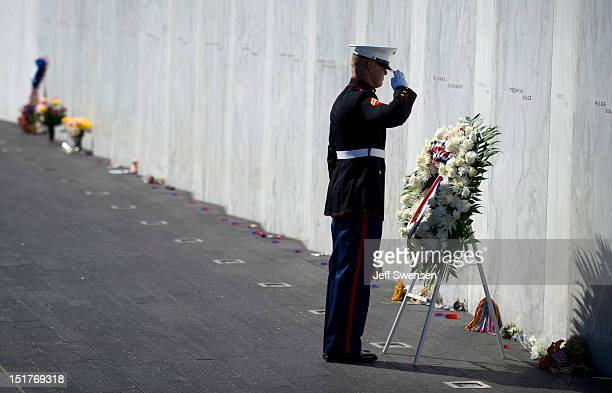 Marine Honor Guard lays a wreath in front of the Wall of Names at the Flight 93 National Memorial during observances commemorating the eleventh...