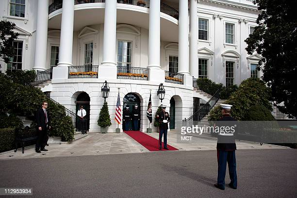 Marine Honor Guard wait for President George W Bush and first lady Laura Bush to greet Sweden's King Carl Gustav and Queen Silvia at the White House...