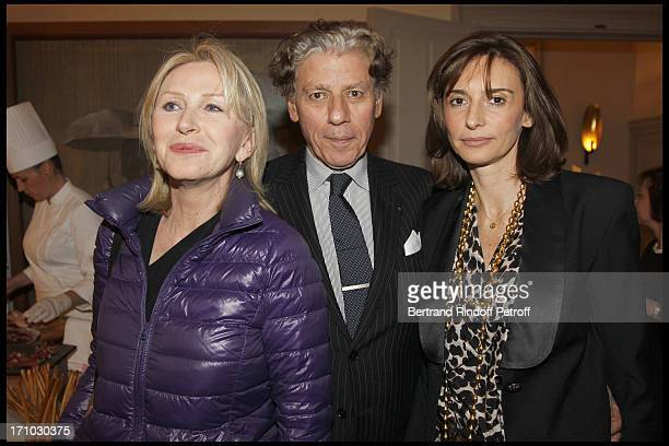 Marine Jacquemin Alain Bernard and wife at Stephane Bern Is Honoured At His Paris Home With The Title Of Officier De L'Ordre Des Arts Et Lettres By...
