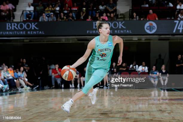 Marine Johannes of the New York Liberty handles the ball against the Connecticut Sun on August 30, 2019 at the Westchester County Center, in White...