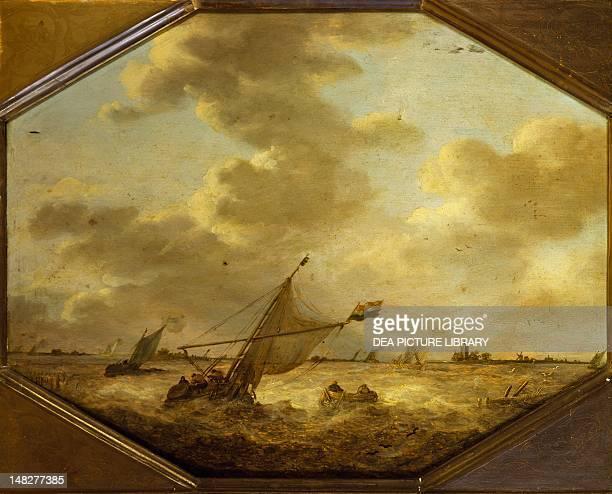 Marine landscape with Fishermen 16401650 by Jan van Goyen oil on panel 46x36 cm Bergamo Pinacoteca Dell'Accademia Carrara