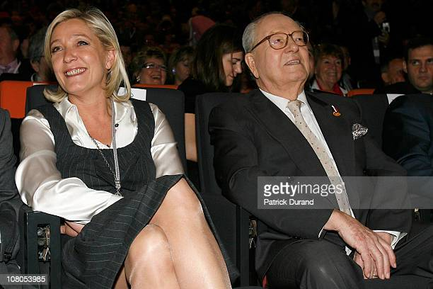 Marine Le Pen and her father JeanMarie Le Pen sit next to each other as French nationalist party Front National elects its new leader on January 15...