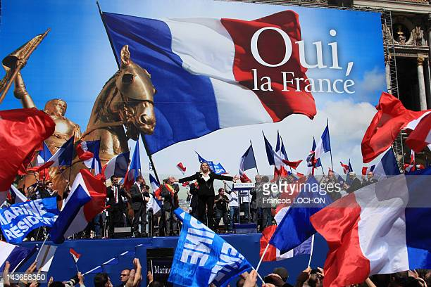 Marine Le Pen delivers a speech during the French Far Right Party May Day demonstration on May 1 2012 in Paris France Marine Le Pen the daughter of...