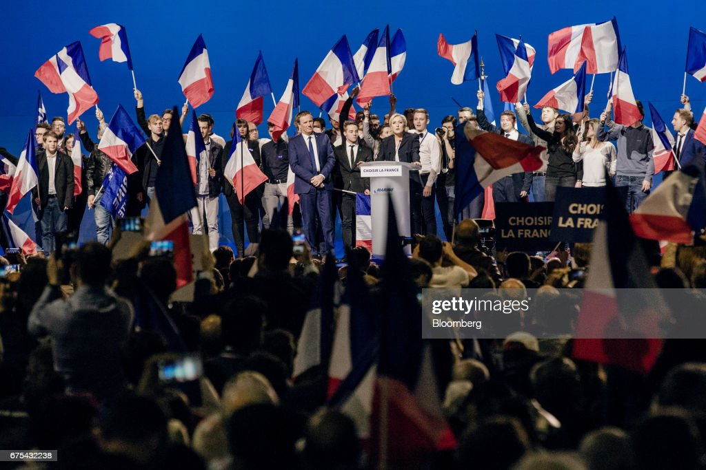 French Presidential Candidate Marine Le Pen Attends National Front May Day Lunch