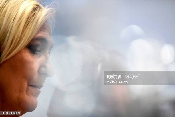 Marine Le Pen head of France's National Rally party attends a press conference during a conference of the rightwing Europe of Nations and Freedom...