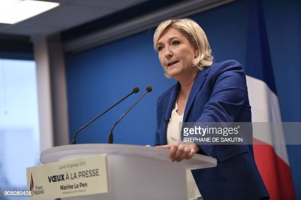 Marine Le Pen head of French farright National Front party delivers her New Year wishes to the press on January 15 2018 at the FN party headquarters...