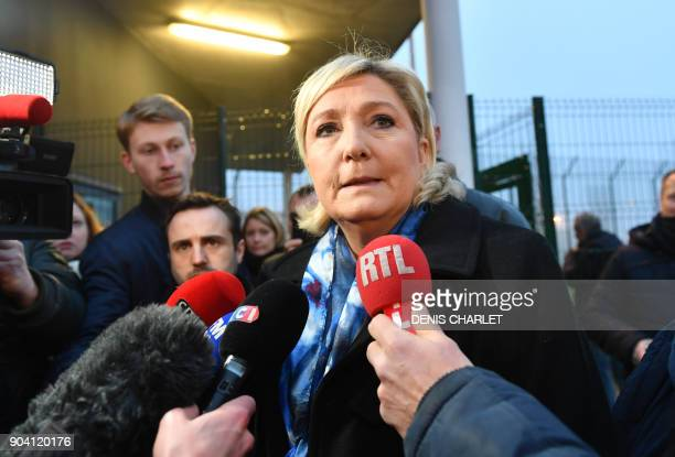 Marine Le Pen head of French farright National Front party speaks to the press outside at the highsecurity prison in VendinleVieil northern France on...