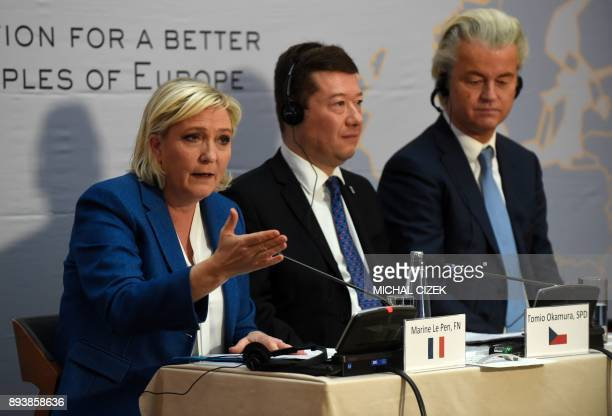 Marine Le Pen head of French farright National Front party Tomio Okamura leader of Czech farright Freedom and Direct Democracy party and Dutch...