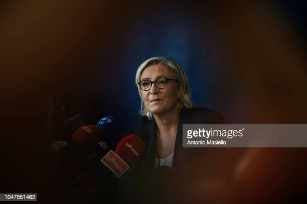 Marine Le Pen Leader of French farright National Rally party speaks to the media during a meeting with Italian deputy Prime Minister Matteo Salvini...