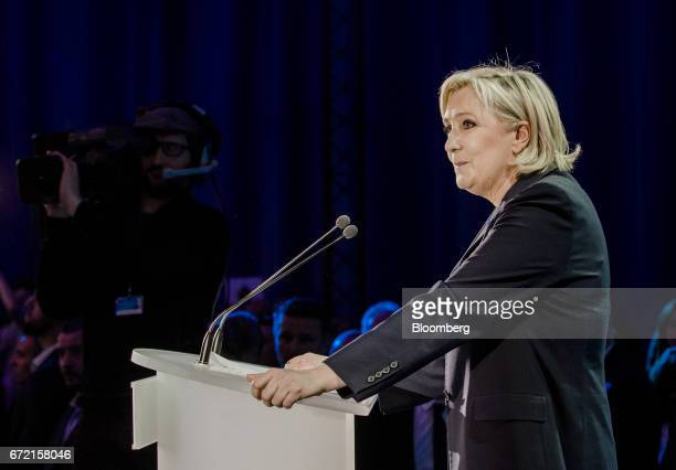 Marine Le Pen leader of the French National Front and France's presidential candidate speaks to supporters after result projections for the first...