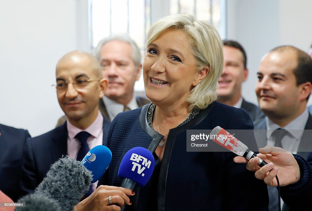 Marine Le Pen, leader of the French National Front (FN) attends the official inauguration of her campaign headquarters 'L'Escale' on November 16, 2016 in Paris, France. Marine Le Pen is candidate for the Presidential elections in France next year.