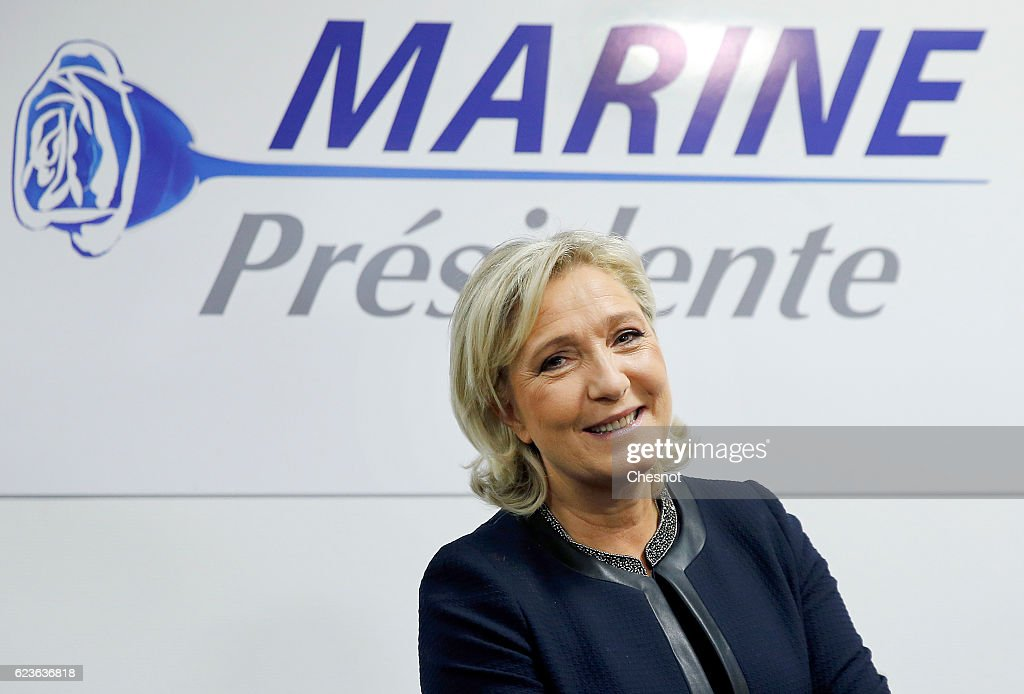 French far-right political Party National Front (FN) Leader Marine Le Pen's inaugurates her new Headquaters : News Photo