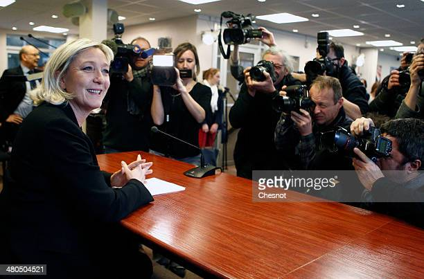 Marine Le Pen President French farright party National Front delivers a speech during a press conference following the first round of the mayoral...