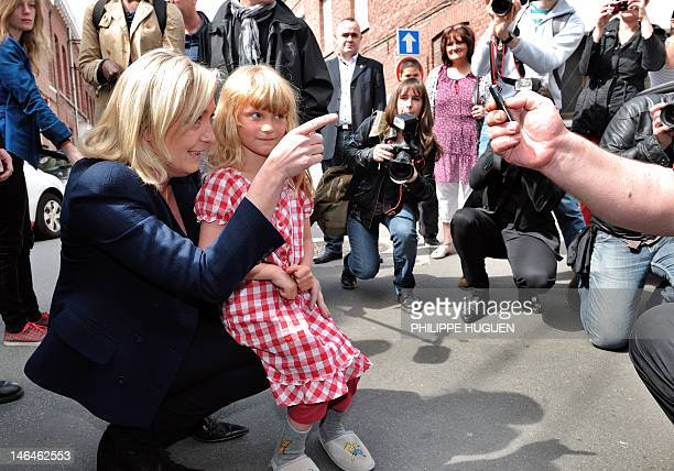 Marine Le Pen President of French farright party Front national and candidate for the French parliamentary elections in the 11th constituency of...