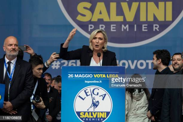 Marine Le Pen President of RN Rassemblement National delivers a speech during the political rally 'Prima l'Italia Il buon senso in Europa Towards a...