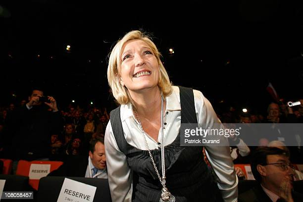 Marine Le Pen smiles as French nationalist party Front National elects its new leader on January 15 2011 in Tours France Marine Le Pen daughter of...