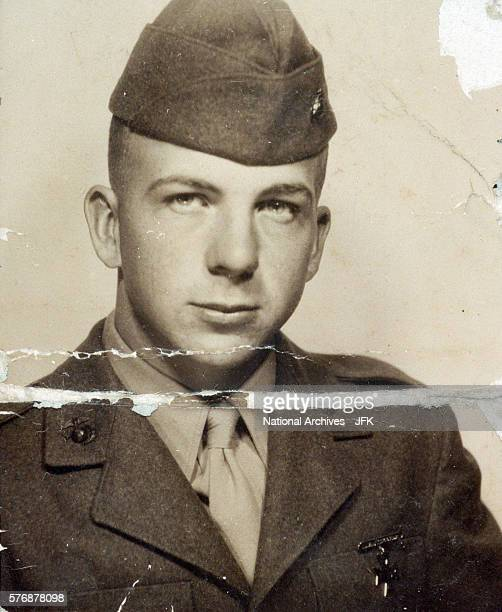 Marine Lee Harvey Oswald in uniform This photograph was found in Oswald's wallet on the day of his arrest in conjuction with assassination of...