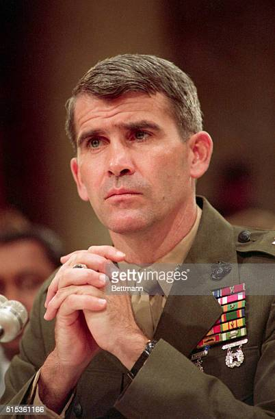 Marine Lieutenant Colonel Oliver North testifies before the House and Senate Iran-Contra committee during his first day of public testimony.