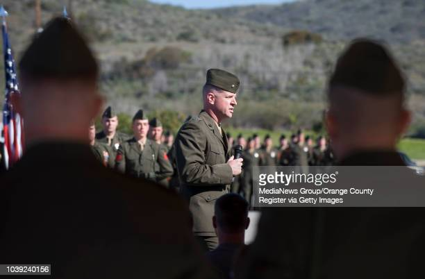 Marine Lieutenant Colonel Timothy Bairstow speaks during a Silver Star ceremony for Marine Sergeant Wade D Wilson at Camp Pendleton on March 14 2013...