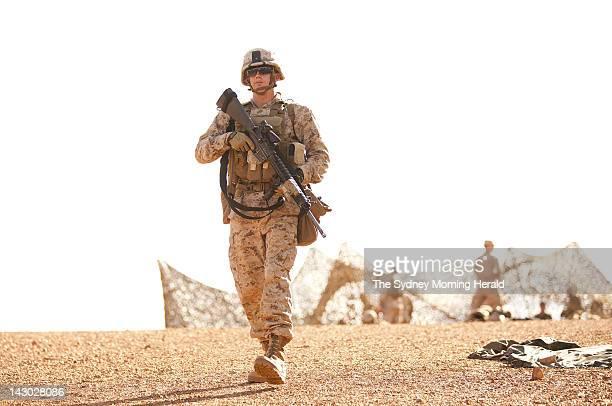 US Marine Lieutenant Corporal Mark Johnson of the US Marine Corps participates in combat marksmanship training at the Australian Defence Force's...