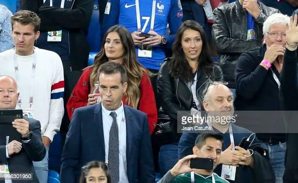 Marine Lloris wife of Hugo Lloris of France Jennifer Giroud wife of Olivier Giroud of France during the 2018 FIFA World Cup Russia Semi Final match...