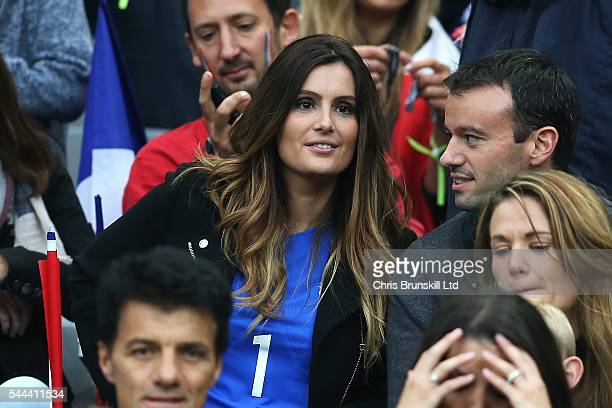 Marine Lloris wife of Hugo Lloris of France looks on during the UEFA Euro 2016 Quarter Final match between France and Iceland at Stade de France on...