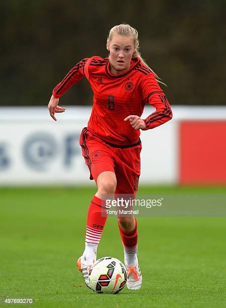 Marine Muller of Germany during Women's U16s International Friendly match between England U16s Women and Germany U16s Women at St Georges Park on...