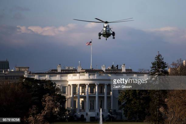 Marine One approaches the White House carrying President Donald Trump after a weekend in Florida on March 25 2018 in Washington DC