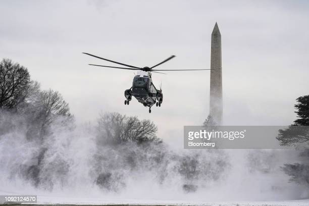 Marine One arrives on the South Lawn of the White House in Washington DC US on Friday Feb 1 2019 Donald Trumpwill implore Congress to compromise on...