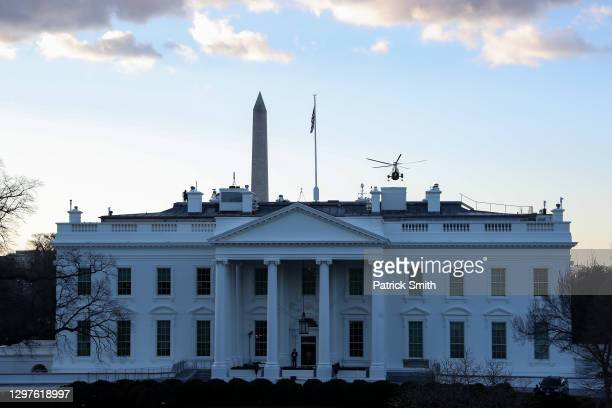 Marine One carrying President Donald Trump and first lady Melania Trump as they depart from the White House ahead of the inauguration of U.S....