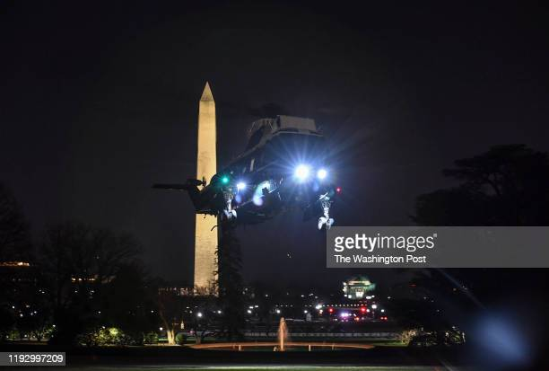Marine One carrying President Donald Trump and First Lady Melania with their son Baron arrive at The White House on January 5 2020 in Washington DC