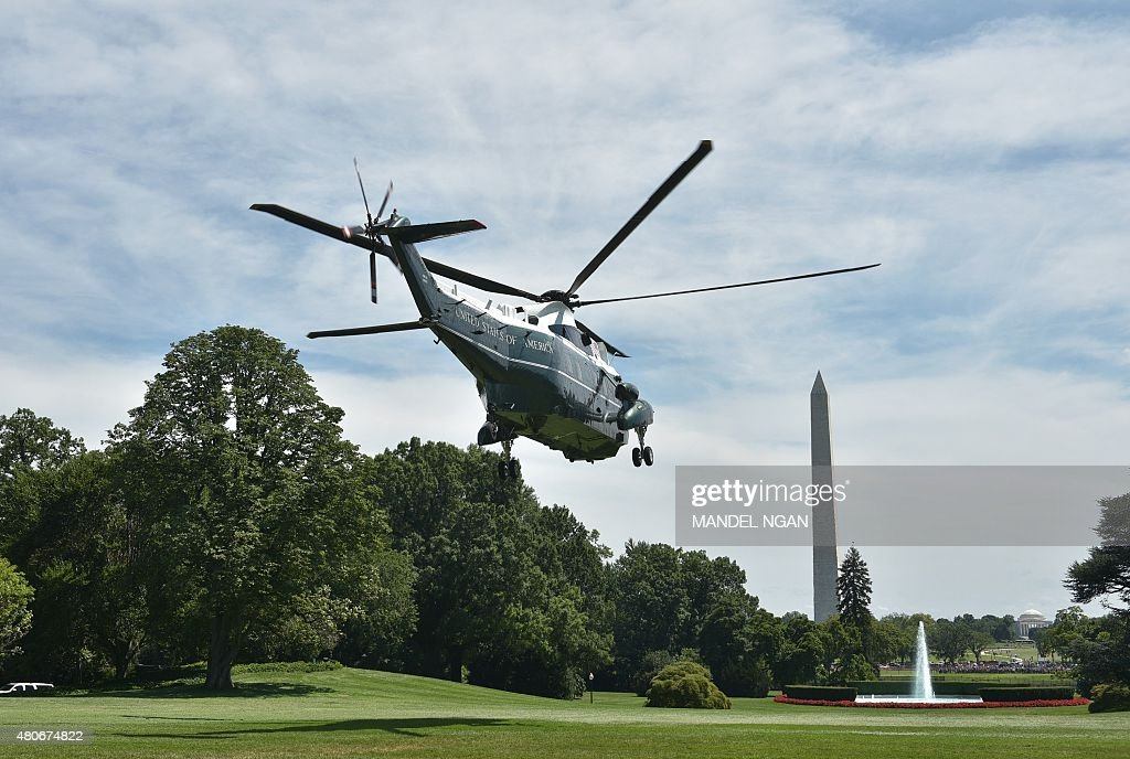 Marine One, carrying US President Barack Obama, takes off from the South Lawn of the White House on July 14, 2015 in Washington, DC. Obama is heading to Philadelphia, to speak at the the NAACP national convention.