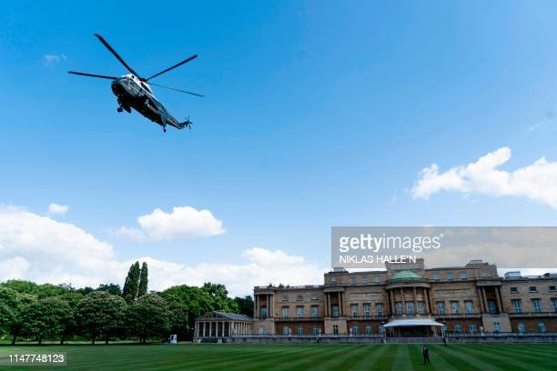 Marine One carrying US President Donald Trump and US First Lady Melania Trump arrives for a welcome ceremony at Buckingham Palace in central London...