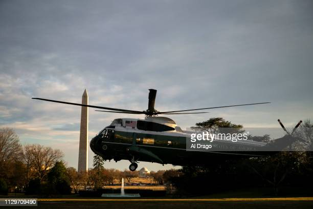 Marine One carrying US President Donald Trump arrives on the South Lawn of the White House on March 10 2019 in Washington DC Trump spent the weekend...