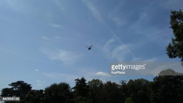 Marine One carrying US President Donald Trump departs the White House in Washington DC on August 30 2017 for Springfield Missouri where Trump will...