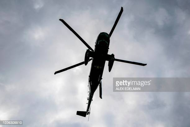 Marine One carrying US President Donald Trump departs Walter Reed Military Medical Center on July 11 2020 in Bethesda Maryland