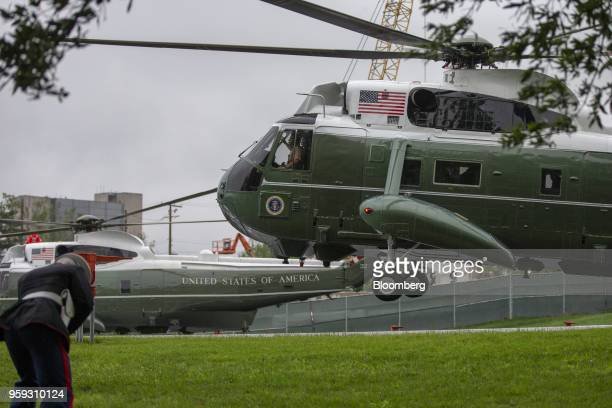 Marine One carrying US President Donald Trump lands to visit First Lady Melania Trump at Walter Reed National Military Medical Center in Bethesda...