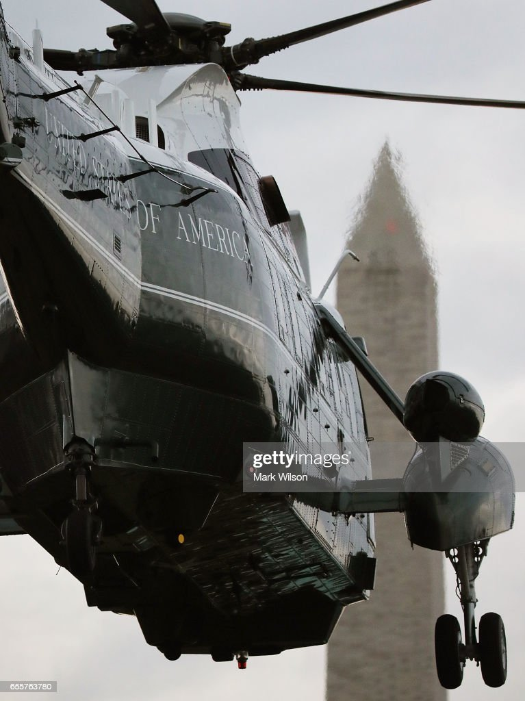Marine One carrying U.S. President Donald Trump takes off from the South Lawn of the White House, on March 20, 2017 in Washington, DC. President Trump is traveling to Louisville Kentucky to speak at a Make America Great Rally.