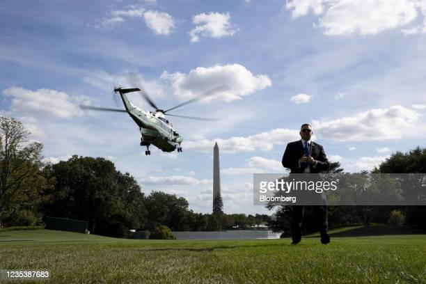Marine One, carrying U.S. President Joe Biden, departs from the South Lawn of the White House in Washington, D.C., U.S., on Monday, Sept. 20, 2021....