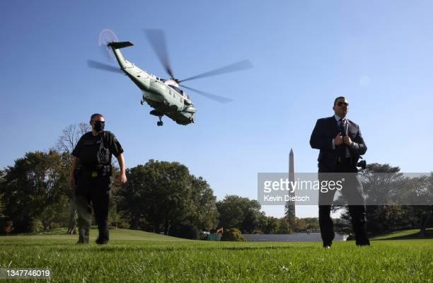 Marine One, carrying U.S. President Joe Biden departs the White House on October 20, 2021 in Washington, DC. President Biden is traveling to...