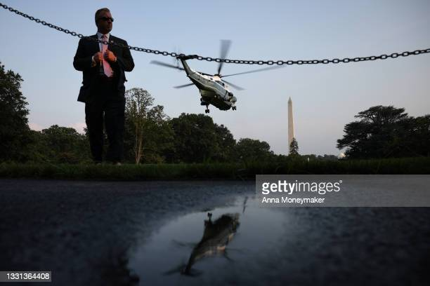 Marine One, carrying U.S. President Joe Biden, lifts off from the South Lawn of the White House on July 28, 2021 in Washington, DC. President Biden...