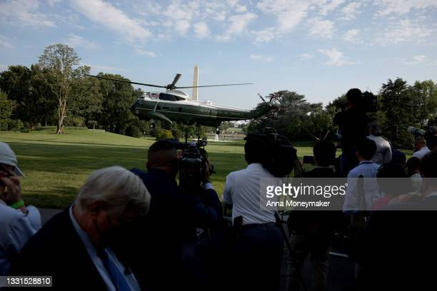 Marine One, carrying U.S. President Joe Biden, lifts off from the South Lawn of the White House on July 30, 2021 in Washington, DC. President Biden...